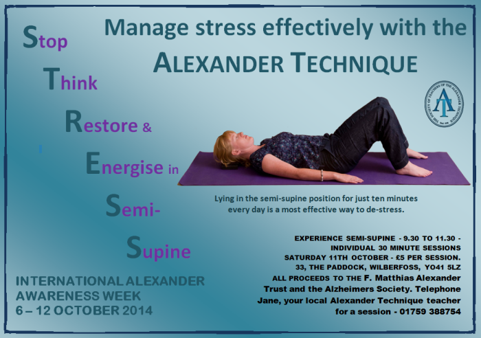 "IAAW poster for 2014 - Person laying in Semi Supine - ""managing stress"""