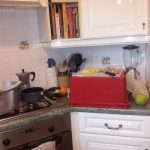 Box on kitchen counter with chopping board on top
